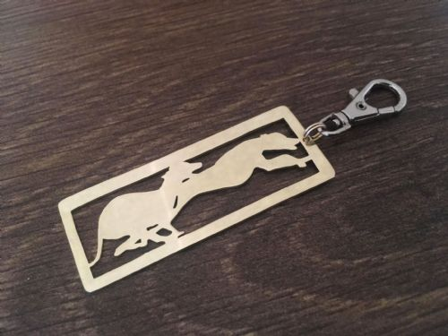Greyhounds running keyring 5.5cm handmade by saw piercing
